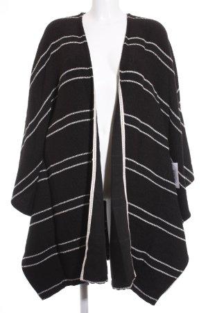 Mango Suit Strickponcho schwarz-wollweiß Streifenmuster Casual-Look