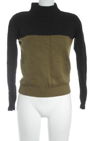 Mango Suit Strickpullover schwarz-olivgrün Casual-Look
