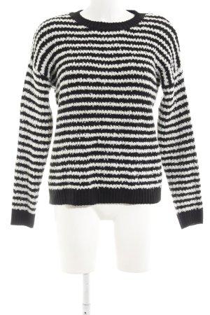 Mango Suit Strickpullover weiß-schwarz Ringelmuster Casual-Look