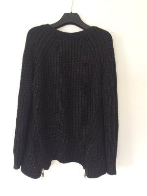 Mango Suit stylischer Grobstrickpullover schwarz Gr 36 top