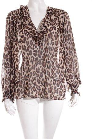 Mango Suit Transparenz-Bluse braun-schwarz Animalmuster Casual-Look