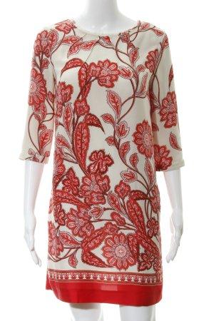 Mango Suit Abito a tunica crema-rosso motivo floreale stile casual