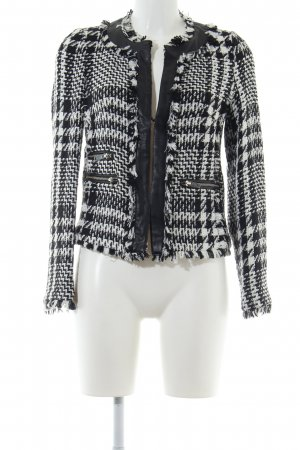 Mango Suit Tweedblazer schwarz-weiß Karomuster Business-Look