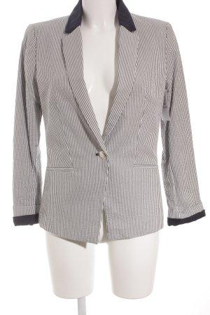 Mango Suit Tweedblazer weiß-himmelblau Streifenmuster klassischer Stil
