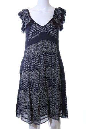 Mango Suit Flounce Dress blue-white graphic pattern casual look