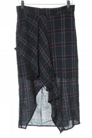 Mango Suit Flounce Skirt dark green-black check pattern casual look