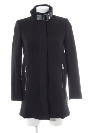 Mango Suit Wintermantel schwarz-silberfarben klassischer Stil