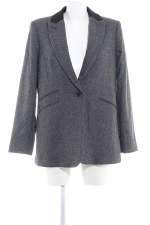 Mango Suit Blazer in lana nero-grigio chiaro spina di pesce stile professionale
