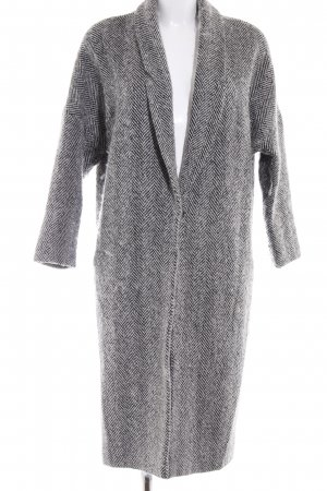 Mango Suit Wollmantel schwarz-weiß Webmuster Casual-Look