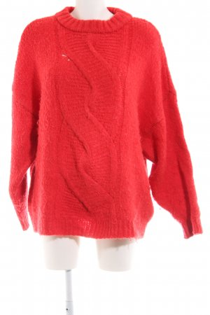 Mango Suit Wool Sweater red cable stitch casual look