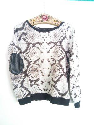 Mango Sweater Pulli mit Schlangenmuster Print
