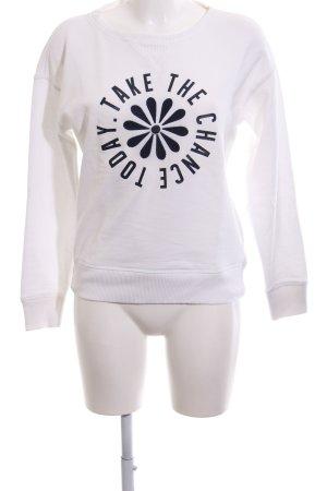 Mango Sweatshirt weiß-schwarz Motivdruck Casual-Look