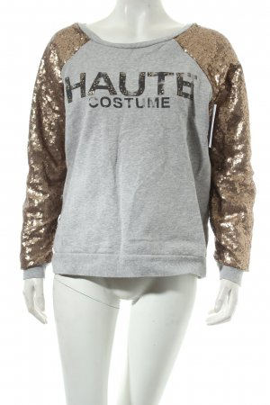 Mango Sweatshirt grau-goldfarben Motivdruck Casual-Look