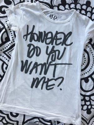 Mango T-Shirt Gr. S weiß Statement schwarz Shirt kurzarm