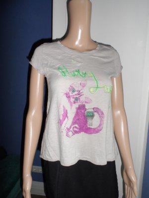 """Mango T-Shirt (unten weiter ausgestellt) mit Katze """"hurry up"""""""