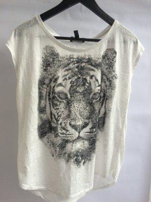 Mango T-Shirt weiß animalprint