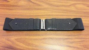 Mango Cinturón pélvico negro-color plata Imitación de cuero