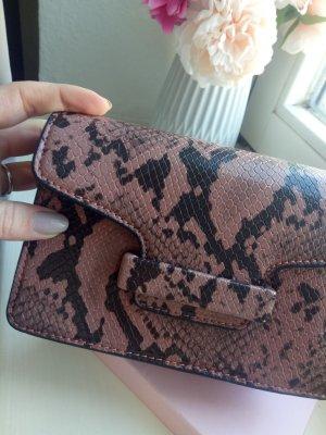 Mango Tasche Clutch Handtasche Snake Schlange Croco Bordeaux Schwarz Blogger Gold