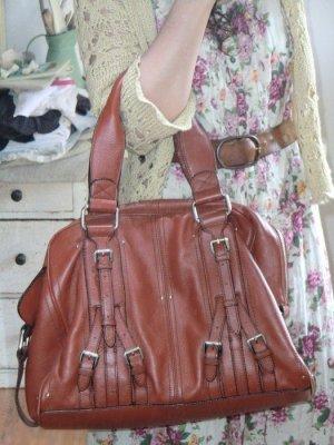 Mango Tasche Ledertasche Shopper rotbraun bag Handtasche