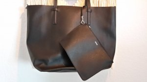 MANGO Tasche Shopper clean simple Schwarz vegan Kunstleder