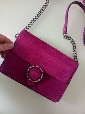 Mango Tasche Umhängetasche Handtasche Pink Wildleder Veloursleder Magenta