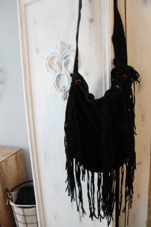 Mango Tasche Wildleder Schwarz Hippie Boho Beuteltasche Bag Shopper Blogger