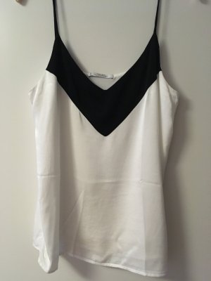 Mango Spaghetti Strap Top black-white