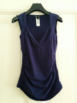 Mango Top Shirt mit interessantem Ausschnitt Nachtblau Violett Gr. S
