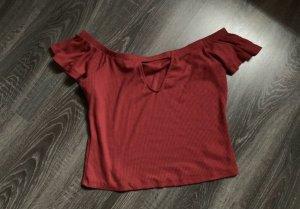 Mango top Shirt rot knallrot schulterfrei offshoulder