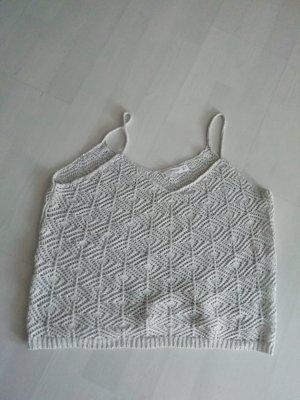 Mango Top Strick Crochet Häkel Silber M