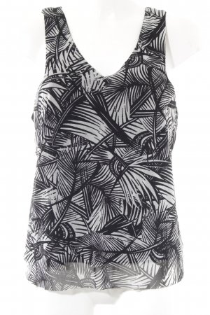 Mango Trägertop schwarz-weiß abstraktes Muster Casual-Look