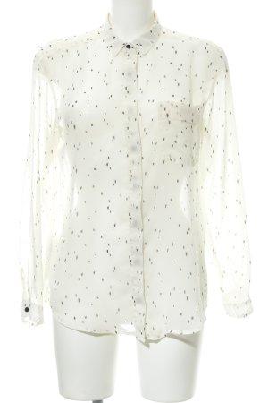 Mango Transparenz-Bluse creme-schwarz abstraktes Muster Casual-Look