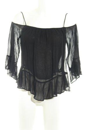 Mango Transparenz-Bluse schwarz Casual-Look