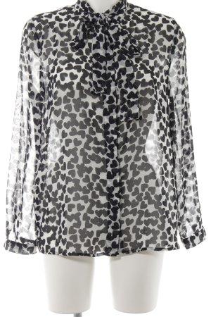 Mango Transparenz-Bluse weiß-schwarz Herzmuster Casual-Look