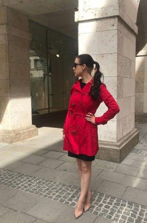 Mango Trenchcoat rot Gr. XS 34 Jacke Knallrot Damen Blogger elegant klassisch