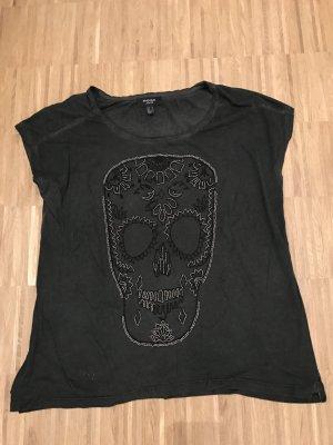 Mango Tshirt Grau schwarz mit totenkopf M mit Perlen