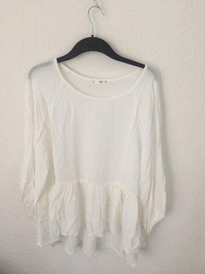 Mango Tunika Shirt mit Volant Weiß
