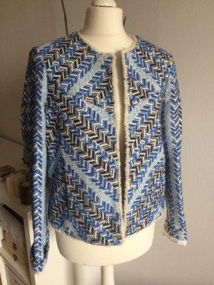 Mango Tweed Boucle Jacke neu 38 M bestickt blau weiß