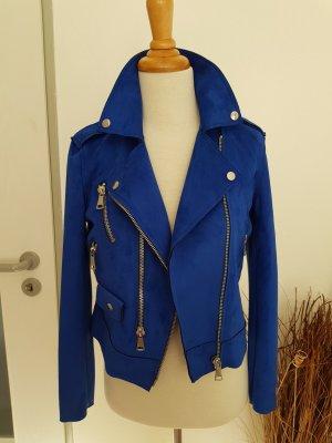 Mango Velour Jacke Biker Royal Blau XS