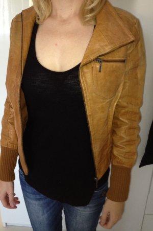 Mango vintage Boho echt Leder Jacke S aus Büffelleder