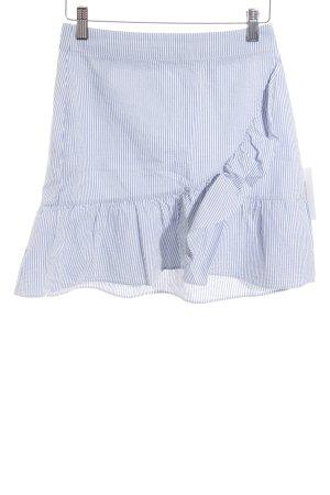 Mango Volantrock weiß-hellblau Streifenmuster Casual-Look