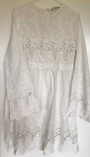MANGO White Lace Embroidered Dress - Size S