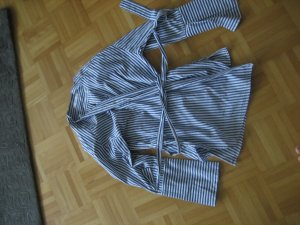 Mango Suit Wraparound Blouse blue-white