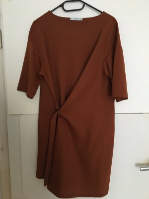 Mango Vestido cruzado marrón-coñac
