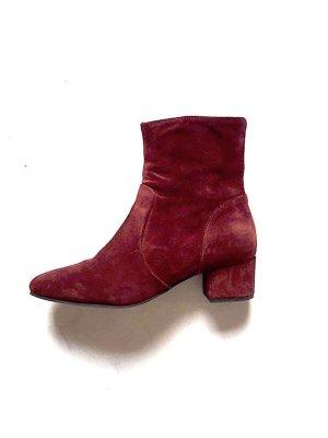 Mango Wildleder 60ies Ankle Boots Bordeaux Vintage Cosy Stiefeletten Gr. 39