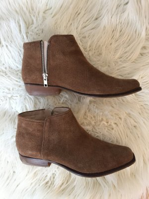 Mango Zipper Booties bronze-colored-brown leather