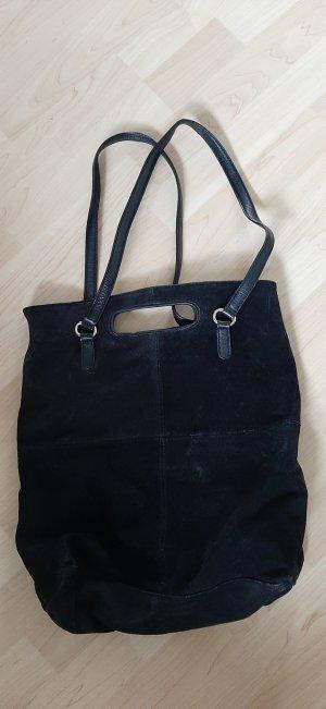 Mango Wildleder-Shopper Tasche mit langen Henkeln schwarz gold passend für A4