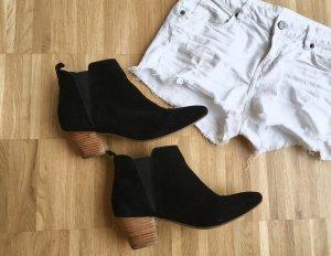 Mango Wildleder Stiefeletten Ankle Boots Schwarz Veloursleder Leder