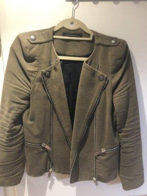 Mango Short Jacket khaki suede
