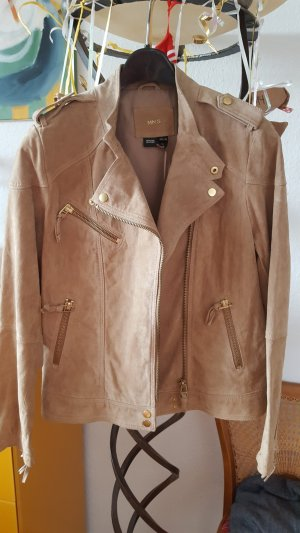 Mango Biker Jacket sand brown leather